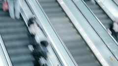 People crowds on escalators in modern building interior time lapse video  Stock Footage