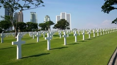 Wide Scenery From Graves Manila, Philippines. American Cemetery Stock Footage