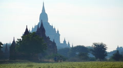 Beautiful panorama of Bagan historical site in Burma. Ancient Buddhist temples Stock Footage