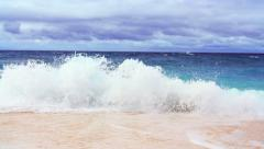 Waves of nasty sea slow motion video on sandy beach  Stock Footage