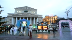 "Christmas theatrical performance ""Urban Mysteries"" in front of Bolshoy theatre. - stock footage"