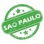 Sao Paulo green stamp - stock illustration