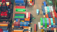 Colorful containers in dock of international terminal in Hong Kong Stock Footage