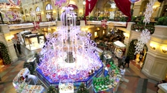 Christmas time at Gum Department Store, main fountain view. Stock Footage
