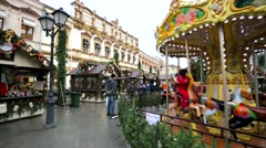 Christmas fair and carousel at Kuznetsky Most street. Stock Footage