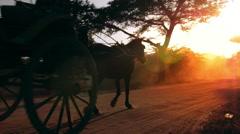 Warm sun rays and bright sun in rural Myanmar (Burma). Two horse wagons in Bagan Stock Footage