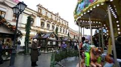 Christmas fair and carousel at Kuznetsky Most street. Stock Footage