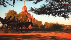 Travelers and local Burmese people riding horse cart near Htilominlo temple Stock Footage