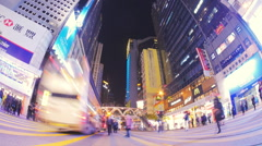 Stock Video Footage of Night time time lapse video of busy crosswalk in downtown of Hongkong city