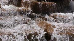 Waterfall Creek in Nature on Brown Rocks Stock Footage