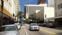 Flagler Street at the Miami  Downtown. Stock Footage