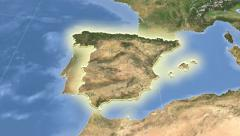 Spain on maps - outlined and glowed. Neighbourhood. Set of animations. Stock Footage