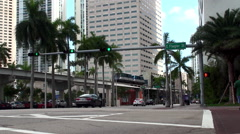 Road traffic on Biscayne Boulevard  in the area of Bayfront Park Miami. Stock Footage