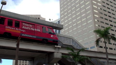 Miami Metromover train in the Downtown Loop at Bayfront Park Station. Stock Footage