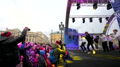 People at Christmas dance performance at Manezhnaya square. Stock Footage