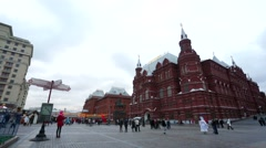 Historical Museum and the Kremlin, view from the Manezhnaya square. Stock Footage