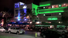 Miami Beach Art Deco District (Ocean Drive aria) at night. Stock Footage