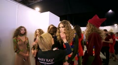Mary Kay visagist prepares models before fashion show Stock Footage