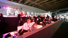 People at the restaurant during Mercedes-Benz Fashion Week Russia. Stock Footage