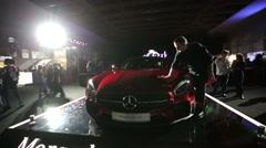 Mercedes-AMG GT car at Mercedes-Benz Fashion Week. Stock Footage