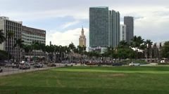 Biscayne Boulevard in Miami downtown with Marina Blue & Freedom Tower Stock Footage