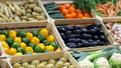 Fresh vegetables at a market Stock Footage