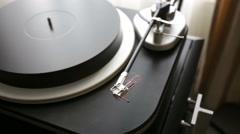 Vinyl rotating on a turntable. Stock Footage