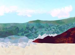 Rocky shoreline with ocean view low poly vector triangle background - stock illustration