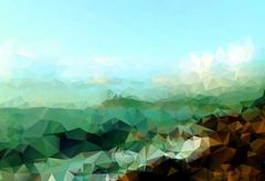 Detailed rocks on a beach ocean view low poly vector background Stock Illustration