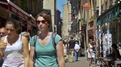 People walking the streets of Old town Lyon (Centre ville) France Stock Footage