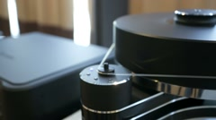 Pan view of a vinyl turntable. Stock Footage