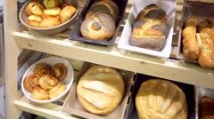 Freshly baked gourmet breads Stock Footage