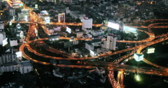 Scenic transportation structure - interchange of many highway roads aerial view  Stock Footage