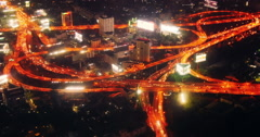 Futuristic transportation system of elevated highway interchange in Asian modern Stock Footage