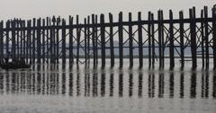 Silhouette of famous wooden bridge in Myanmar - U Bein Bridge Stock Footage