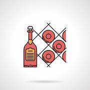 Wine cellar flat color vector icon - stock illustration