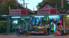 Shops at Nopparat Thara Beach, Aonang, Thailand Stock Footage