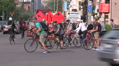 Downtown urban Toronto traffic bikes construction cars and transit Stock Footage