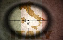Sniper scope aimed at the vintage italian flag and map Stock Illustration