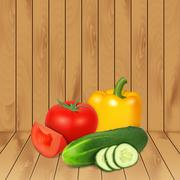 Tomato, cucumber and pepper - stock illustration