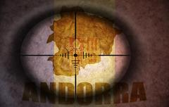 Sniper scope aimed at the vintage andorran flag and map Stock Illustration