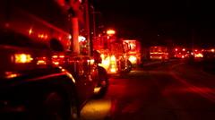 Firetrucks lined  up  street Stock Footage
