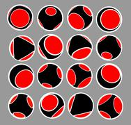 sphere icon set in black red and white - stock illustration