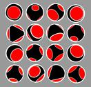 Stock Illustration of sphere icon set in black red and white