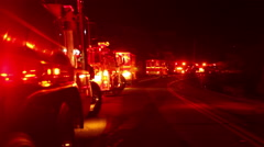 Firetrucks with cameraman Stock Footage