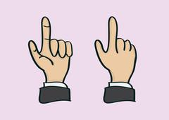 Thumb and Index Finger Hand Gesture in Front and Back View - stock illustration