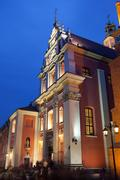Jesuit Church in Warsaw at Night - stock photo