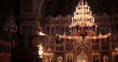 Cathedral. Chernivtsi, Ukraine. Iconostasis and chandelier. Stock Footage