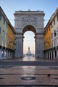 Rua Augusta Arch at Dawn in Lisbon Stock Photos
