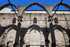 Ruins of Carmo Convent in Lisbon - stock photo